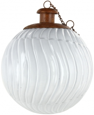 Gravity White Ceramic Table Torch with Copper Top