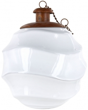 Waves White Ceramic Table Torch with Copper Top