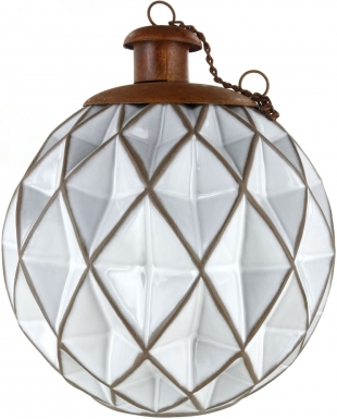 Diamond White Ceramic Table Torch with Copper Top