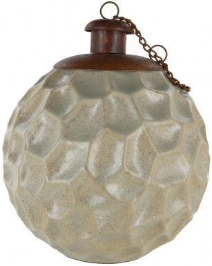 Crater Beige Ceramic Table Torch with Copper Top