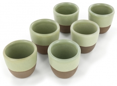 Green - Handcrafted Ceramic Tea Cups Set of 6