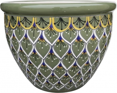 Mexican Talavera Large Round Bell Planter - Green Peacock Feathers