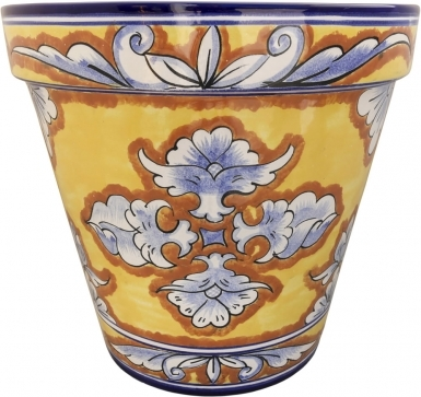 Mexican Talavera Medium Round Planter - Villahermosa 2