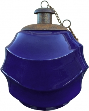 Waves Cobalt Blue Ceramic Table Torch with Copper Top