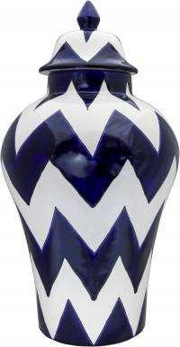 Blue & Pure White Harlequin - Small Ceramic Ginger Jar