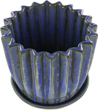 Washed Metallic Blue Gloss - Small Ceramic Planter