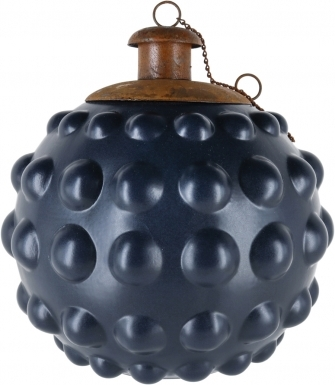 Bumpy Black Ceramic Table Torch with Copper Top