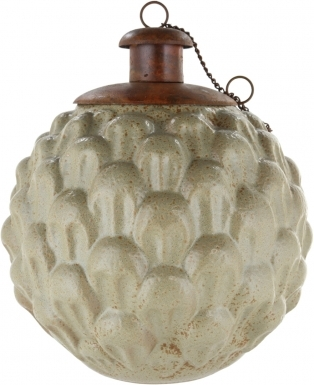 Pineapple Beige Ceramic Table Torch with Copper Top