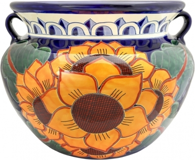 Mexican Talavera Large Round Planter - Sunflowers
