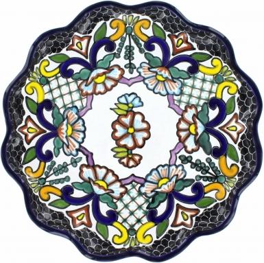 Puebla Traditional Ceramic Talavera Scalloped Plate N. 4