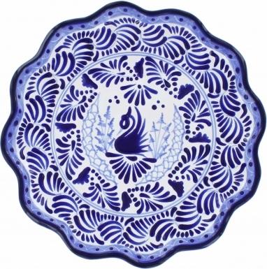 Puebla Traditional Ceramic Talavera Scalloped Plate N. 17