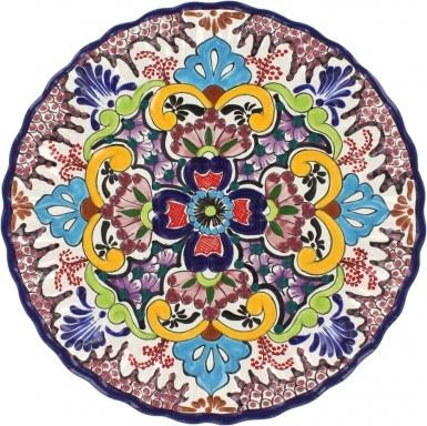 Puebla Classic Ceramic Talavera  Scalloped Plate N. 7
