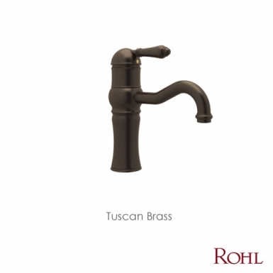 """Tuscan Brass - ROHL Country Bath Acqui 9"""" Single Deck Mount Lavarory Faucet"""