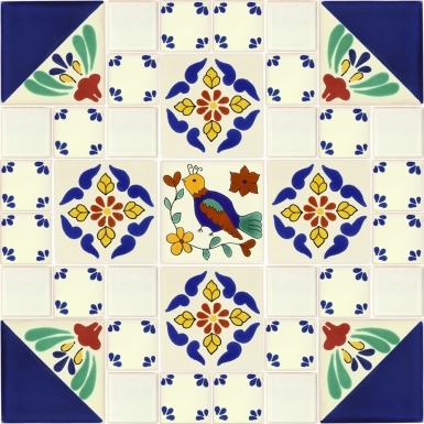"Set of 37 Individual Tiles 4.25"" x 4.25"" and 2"" x 2"" - Talavera Mexican Tile Set"