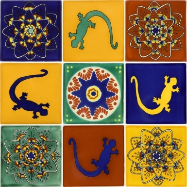"Set of 9 Individual Tiles 4.25"" x 4.25"" - Talavera Mexican Tile Set"