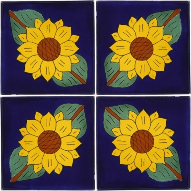 "Set of 4 Individual Tiles 6"" x 6"" - Talavera Mexican Tile Set"