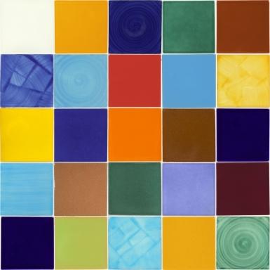 "Set of 25 Individual Tiles 4.25"" x 4.25"" - Talavera Mexican Tile Set"