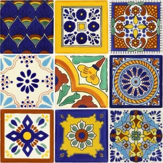Set Of 9 Mexican Talavera Ceramic Tiles 4 1 4 X 4 1 4 In
