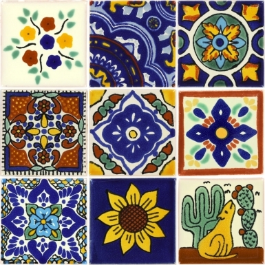 Set of 9 Mexican Talavera Ceramic Tiles 2x2 in.