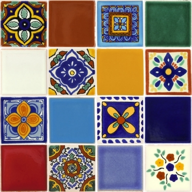 Set of 16 Mexican Talavera Ceramic Tiles 2x2 in.