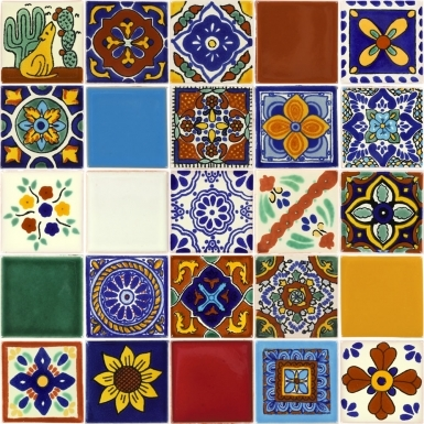 Set of 25 Mexican Talavera Ceramic Tiles 2x2 in.