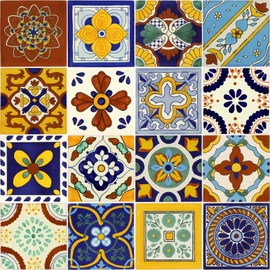 Set of 16 Mexican Talavera Ceramic Tiles 6x6 in.
