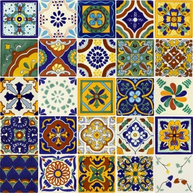 "Set of 25 Individual Tiles 4.25"" x 4.25"" - Talavera Mexican Tile Set"