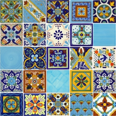 Set of 25 Mexican Talavera Ceramic Tiles - 4.25 x 4.25 in.