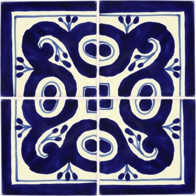 "Set of 4 Individual Tiles 4.25"" x 4.25"" - Talavera Mexican Tile Set"