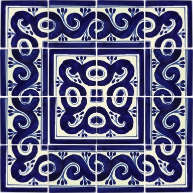"Set of 16 Individual Tiles 4.25"" x 4.25"" - Talavera Mexican Tile Set"
