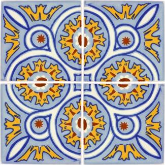 Set Of 4 Mexican Talavera Ceramic Tiles 4 25 X 4 25 In