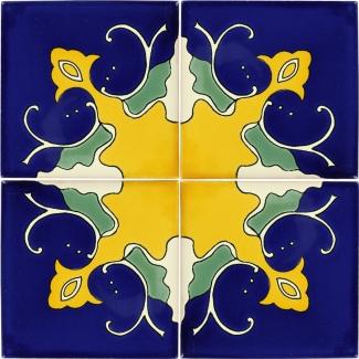 Set Of 4 Mexican Talavera Ceramic Tiles