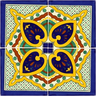 Set of 4 Mexican Talavera Ceramic Tiles - 4.25 x 4.25 in.
