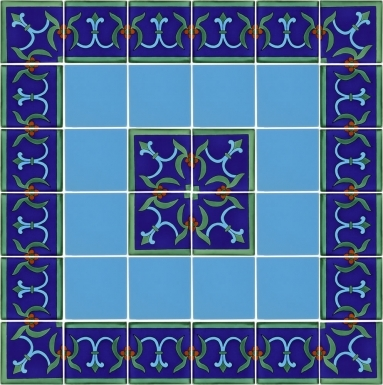 "Set of 36 Individual Tiles 4.25"" x 4.25"" - Talavera Mexican Tile Set"