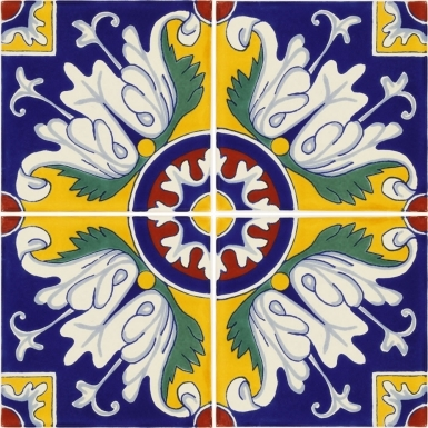 Set of 4 Mexican Talavera Ceramic Tiles 6x6 in.