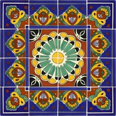 "Set of 16 Individual Tiles 6"" x 6"" - Talavera Mexican Tile Set"