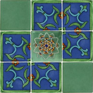 "Set of 9 Individual Tiles 6"" x 6"" - Talavera Mexican Tile Set"