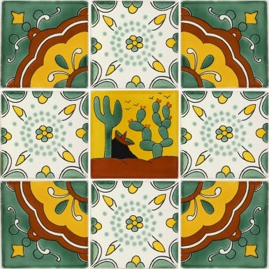 Set of 9 Mexican Talavera Ceramic Tiles - 4.25 x 4.25 in.