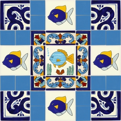 "Set of 33 Individual Tiles 2"", 2 x 4.25"" and 4.25"" - Talavera Mexican Tile Set"