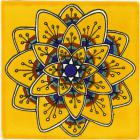 Yellow Peacock Flower Talavera Mexican Tile