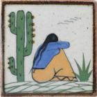 Woman with Agave and Cactus 1 Tenampa Ceramic Tile