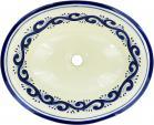 Ola Azul Talavera Ceramic Oval Drop In Bathroom Sink