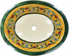 Flor de Liz Amarilla Talavera Ceramic Oval Drop In Bathroom Sink
