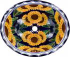 Sunflowers Talavera Ceramic Oval Drop In Bathroom Sink
