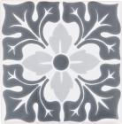 8.25 x 8.25 Lucerna 2 with Snow White Sevilla Handmade Ceramic Floor Tile